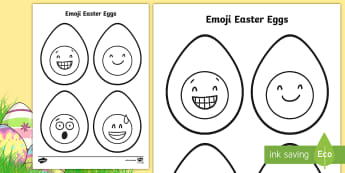 Emoji Easter Egg Colouring Page - easter, easter eggs, emoji, colouring, colouring sheets, fine motor skill, moji