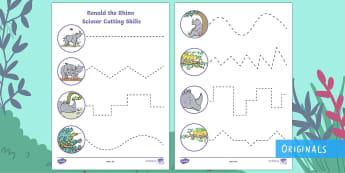 Ronald the Rhino Cutting Skills Activity Sheets - Ronald the Rhino, rhyming, pattern, story, jungle, Africa, rhino,