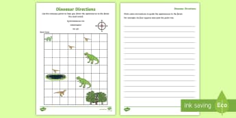 Dinosaur Directions Instruction Writing Activity Sheet - Treasure Island Directions Instruction Writing Worksheet - giving directions worksheet, compass poin