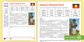 Kakadu National Park Cloze Activity Sheet - Comprehension, Guided Reading, Australian landmark, australian geography, aboriginal history,Austral