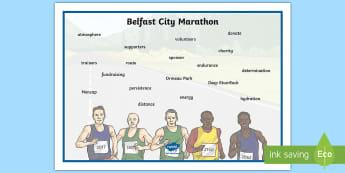 Belfast City Marathon Word Mat - 2018, Writing, visual, aid, prompt, vocabulary, language