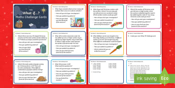KS1 Christmas What If...? Maths Challenge Cards - Reasoning, Questioning, Problems, 25th December, problem solving