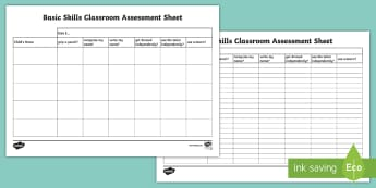 Basic Skills Observation Template - start of year, new starters, transition, i can, assessing children, early assessment, early skills,