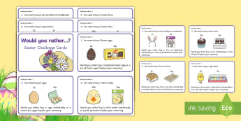 KS1 Would You Rather...? Easter Maths Challenge Cards - KS1 Easter 2017 (16th April), Challenge cards, Would you rather?, Easter challenge cards, KS1, key s