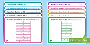 Number Bonds to 20 Bar Models Display Poster English/Romanian - KS1, bar model, inverse, representations, derive facts, learned facts, complements to 20, complement