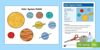 Solar System Mobile Craft Activity - Space, solar system, galaxy, craft, solar system craft, space craft, mobile, space mobile, planets,