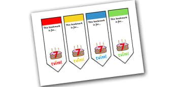 Editable Birthday Bookmarks (Age 7) - Bookmark, birthday, age 2, birthday gift, present, book, reward, achievement