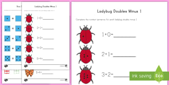 Doubles Minus 1 with Pictures Activity Sheets - Doubles, Doubles to 20, Doubles minus 1, Doubles subtract 1, Near Doubles, Using Doubles, Number Fac