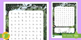 Sopa de letras: Los animales del bosque tropical - animales, grupos, clasificación, donde viven,  hábitats