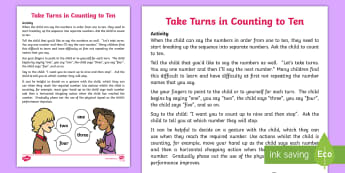 Take Turns in Counting to Ten Activity - count, turn taking, maths, number, wait, listen, sequence, order, SEN,Australia