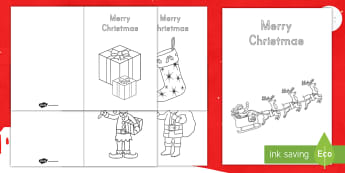 Color In Christmas Cards - Christmas, Christmas Cards, Color in Cards, Santa, Christmas Tree, Cards, Winter, Holiday, Holiday c