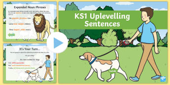 KS1 Uplevelling Sentences Activity PowerPoint - Uplevel, Edit And Improve, Subordinating Conjunctions, Adding Extra Detail, Double Adjectives, 2A Se