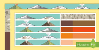 Volcano Display Borders - volcanoes, rocks, igneous, metamorphic, eruption,