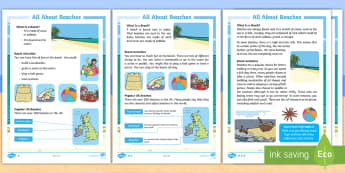 KS1 All About Beaches Differentiated Fact File - beach, seaside, sand, shingle, family