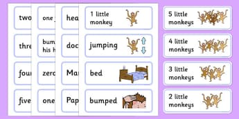 5 Little Monkeys Jumping on the Bed Word Cards - 5, 5, monkey, jump, sing, song, count, counting, maths, number, numeracy, early years