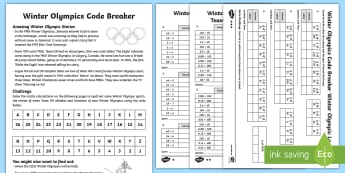 KS2 Winter Olympics Codebreaker Differentiated Activity Sheets - pyeongchang, maths challenge, multiplication, division, place value, x10, x100,