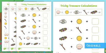 Tricky Treasure Problems Differentiated Worksheet / Activity Sheets - code, break, solve, problem, number, addition, subtraction, multiplication, division, maths, ks1, tr