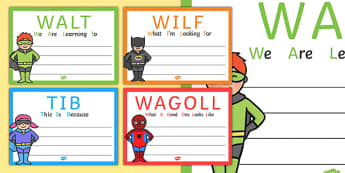 Superhero Themed WALT WILF TIB WAGOLL Posters - teaching aid