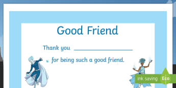 Superhero Good Friend Certificate - anti bullying, friendship, certificate, emotions, coping