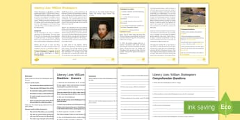 Literary Lives: William Shakespeare Differentiated Reading Comprehension Activity - Shakespeare, comprehension, introduction, context, life, work, worksheet, plays, Globe, theatre, Pur