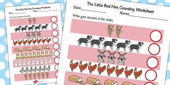 The Little Red Hen Counting Sheet - Little, Red, Hen, Counting, 1:1 correspondance