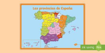 Póster DIN A2: Las provincias de España - Mapas, provinicias, mapas mudos, mapas en blanco, las ciudades de españa, comarcas, concejos, comun