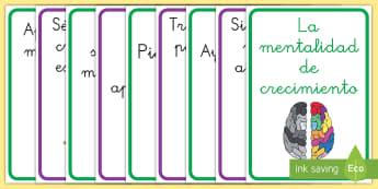 Pósters DIN A4: La mentalidad de crecimiento - Frases - póster, DIN A4, pósters, mentalidad de crecimiento, mentalidad fija, mural, murales, exposición,