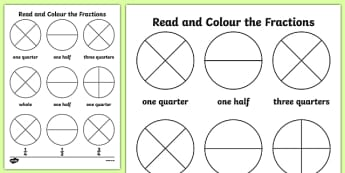 Year 1 Read and Colour a Fraction Worksheet / Activity Sheet - fractions, colours, reading, worksheet