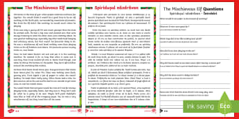 KS1 The Mischievous Elf Differentiated Reading Comprehension Activity Romanian/English - Christmas, elf, naughty, mischievous, elf of the shelf, Santa, Father Christmas, wrapping, elves, tr