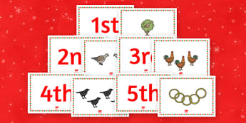 Twelve Days of Christmas Sequencing Cards - Twelve Days of Christmas, xmas, story, song, patridge, french hen, lord leaping, maid milking, turtle dove, gold ring, tree, advent, nativity, santa, father christmas, Jesus, tree, stocking, present, activi