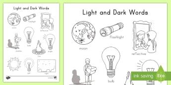 Light and Dark Words Coloring Activity Sheet -  Light Energy, Reflection, Day, Night, Fine Motor Skills, Sun