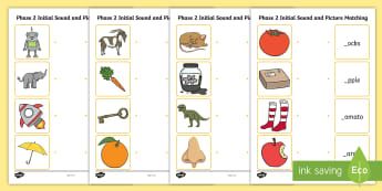 Phase 2 Initial Sound and Picture Matching Worksheet - phase 2
