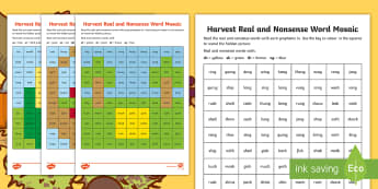 Harvest Phase 3 Phonics Mosaic Activity Sheets - autumn, Decode, Read, Blend, Pattern, worksheet