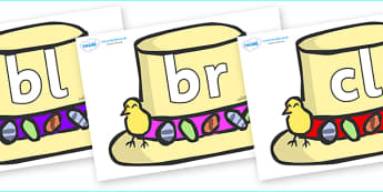 Initial Letter Blends on Summer Hats - Initial Letters, initial letter, letter blend, letter blends, consonant, consonants, digraph, trigraph, literacy, alphabet, letters, foundation stage literacy