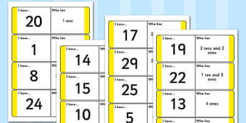 Place Value Loop Cards to 30 - place value, loop, card, 30, number, maths, numeracy, ks1, new curriculum, year 1, year 2, y1, y2