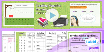 PlanIt Y3 Term 2A W4: Creating Negative Meanings Using Prefix mis- Spelling Pack - Spellings Year 3, Y3,  SPaG, GPS, spelling, packs, weeks, weekly, prefix, prefixes, mis,