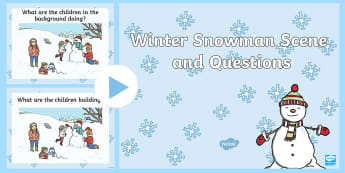 Winter Snowman Scene and Questions PowerPoint - winter snowman, scene, question, cards, winter, snow dog,