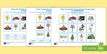 Months of the Year Cut and Stick Worksheet / Activity Sheet - English/Mandarin Chinese - Months of the Year Cut and Stick Worksheet / Activity Sheet - months, year, cut, stick, months of the year engli