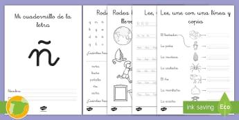 Cuadernillo de lecto: La Ñ -  leer, lectura, sonidos, letra , lecto-escritura, letra ñ, la ñ, ñ,Spanish