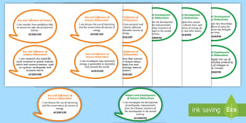 Year 6 Australian Curriculum Science as a Human Endeavour: I Can Speech Bubbles - Australian science, science assessment, grade 6, learning intentions, science outcomes, walt, tib, w