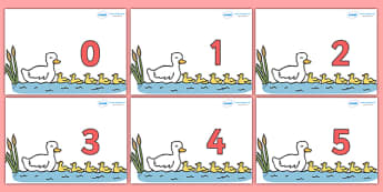 Numbers 0-31 on Five Little Ducks - 0-31, foundation stage numeracy, Number recognition, Number flashcards, counting, number frieze, Display numbers, number posters