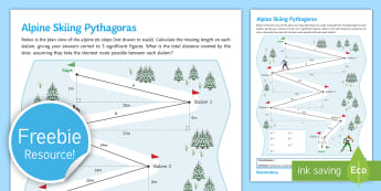 Winter Olympics Alpine Skiing Pythagoras Worksheet / Activity Sheet - triangle, pythagoras, winter, olympics, 2014, pyeongchang