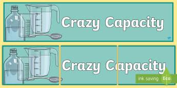 Crazy Capacity Measures Display Banner - display banner, measures, capacity, display, Noticeboard, maths,Irish