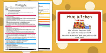 Fruit Bake EYFS Mud Kitchen Plan and Prompt Card Pack - mud kitchen