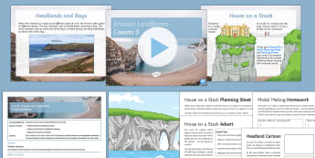 Coasts Lesson 3: Erosion and Landforms  - Y7, Y8, Y9, erosion, coastal, cave, arch, stack, stump, coast, headland, bay