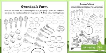 Grandad's Farm Number 7 Vegetable Picking Worksheet / Activity Sheet - ROI, Grandad's Farm, on the farm, number recognition, seven, farm animals, Aistear, Story, Maths, A