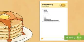 Pancake Day Treasure Basket Ideas - EYFS Pancake Day (February 28th), pancakes, shrove tuesday, sensory play, exploration, pancake day