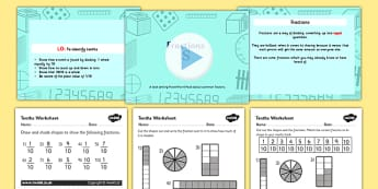 Fractions (Tenths) Lesson Teaching Pack - year 3, year three, fractions, year 3 fractions, tenths, task setter, powerpoint, activities