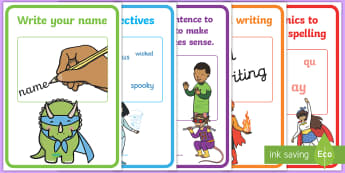 Superhero Themed Writing Targets Display Posters - writing, target, display, poster, writting, assessment,
