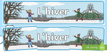 Banderole d'affichage : L'hiver - Hiver, winter, banderole, affichage, display, banner, panneau, French